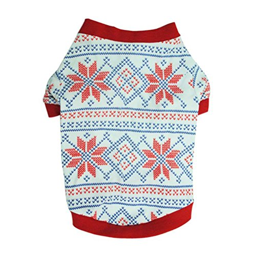 Freerun Pet Shirt Snowflake Dog Clothes Santa Costume Small Dog Cat Pet Clothing Puppy T-Shirt Apparle Dog Tee Shirt - L - Costumes Direct Australia