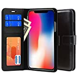 iPhone X Case, PLESON PU Leather Wallet Case Cover for iPhone X [All-Around Protection] Case Purse Pouch With Card Holders/ Magnetic Lock/ Stand Function/ Protective Wallet Cases for iPhone 10 (Black)
