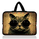 """Cat wearing glasses 17 inch 17.3"""" 17.4"""" Laptop Bag Sleeve Computer Case Notebook"""