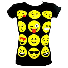 GIRLS T-SHIRTS & LEGGINGS EMOJI EMOTICONS SMILEY FACES SHORT SLEEVE TOPS 7-13 Y