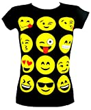 GIRLS T-SHIRTS & LEGGINGS EMOJI EMOTICONS SMILEY FACES SHORT SLEEVE TOPS 7-13 Y, Black, 13 years