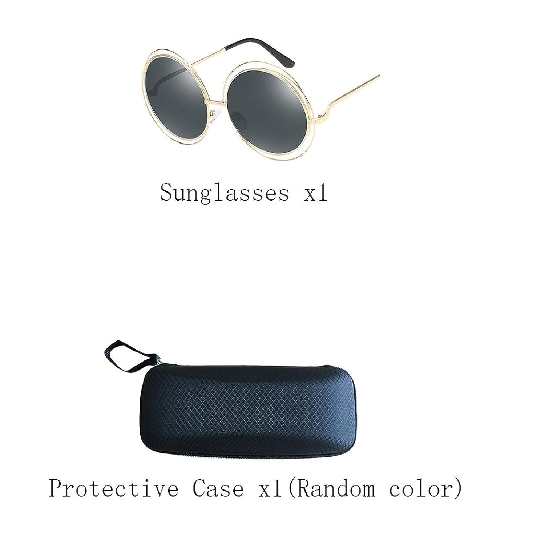 Zhhaijq des lunettes de soleil Round metal sunglasses for womens mens with Glasses Case JiUazELLvh