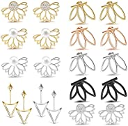 Adramata 10 Pairs Ear Jacket Stud Lotus Flower Earrings for Women and Girls Set for Sansitive Ears Simple Chic