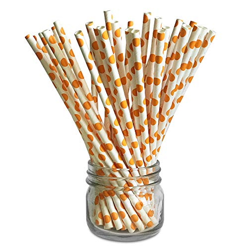Premium Paper Drinking Straws for Holiday, Anniversary, Birthday, Graduation, Wedding, Bridal & Baby Parties. 100% Biodegradable Vintage and Fun Paper Straws. Pack of 50. (Orange Polka -