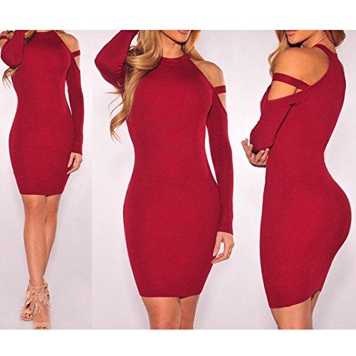 Shoulder Mini Sleeve Women Dress Wine Long s Blingdeals Bodycon Cold Sexy f74XWq8n