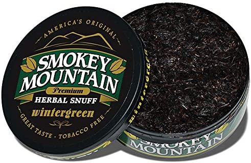 Smokey Mountain Herbal Snuff - Wintergreen - 1-Can - Nicotine-Free and  Tobacco-Free - Herbal Snuff - Great Tasting & Refreshing Chewing Tobacco