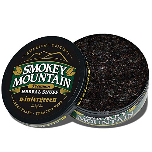 Smokey Mountain Herbal Snuff - Wintergreen - 1-Can - Nicotine-Free and Tobacco-Free - Herbal Snuff - Great Tasting & Refreshing Chewing Tobacco Alternative