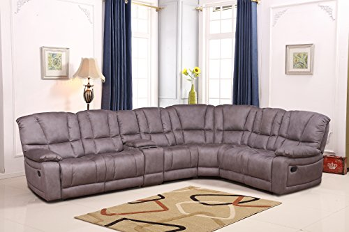 Betsy Furniture Large Microfiber Reclining Sectional Living Room Sofa in Grey - Sectional Set Reclining