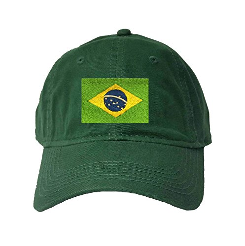 Go All Out Adjustable Dark Green Adult Brazil Flag Embroidered Deluxe Dad Hat