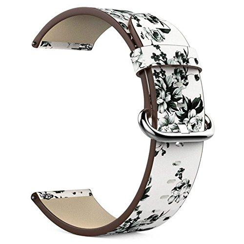 Cikuso para Fitbit Versa Reloj Band Replacement Fashion Peonia Flor Pintura Cuero Genuino Hebilla muneca Correa Munequera con Pulsera de Hombre y Mujer: ...