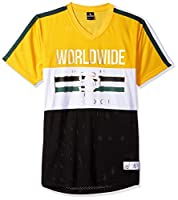 Southpole Men's Short Sleeve Athletic Mesh Jersey T-Shirts, Yellow Reflective, Medium