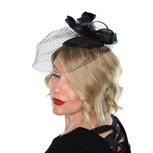 Classic Womens Fascinator Hat with Veil and Feathers Tea Party Derby Wedding Accessory (Black)