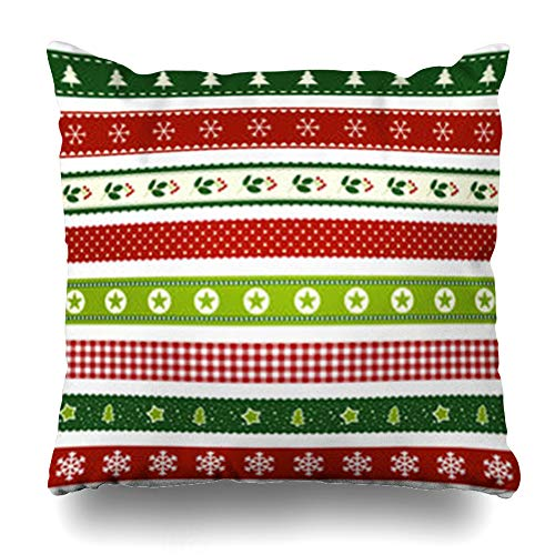(InnoDIY Throw Pillow Covers December Green Winter Christmas Ribbon Patterns Holidays Red Berry Dots Holly Season Tree Pillowslip Square Size 20 x 20 Inches Cushion Cases Pillowcases)