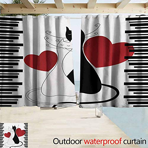 - AndyTours Exterior/Outside Curtains,Cats Romantic Kittens Pets Couple Two Tails Hearts and Black Stripes Valentines Love,Rod Pocket Energy Efficient Thermal Insulated,W63x63L Inches,White Black Red