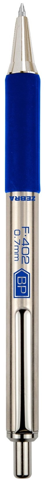 Zebra F-402 Ballpoint Stainless Steel Retractable Pen, Fine Point, 0.7mm, Blue Ink, 12-Count by Zebra Pen (Image #2)
