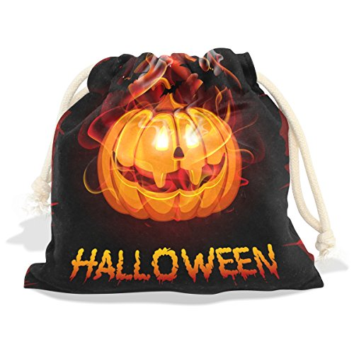 Value Village Costumes For Girls (Happy Halloween Pumpkin Velvet Drawstring Gift Bag Wrap Present Pouches Favor for Jewelry, Coin, Holiday, Birthday, Party)