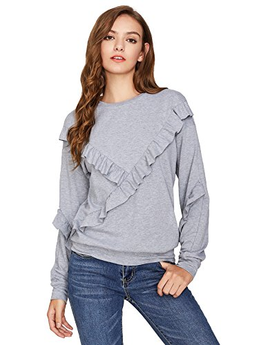 Drop Neck Sweater (Floerns Women's Drop Shoulder Crew Neck Long Sleeve Pullover Sweatshirt Grey M)