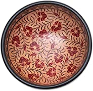 NOVICA Wood Floral Batik Decorative Bowl, Brown, Lok Chan Flowers&