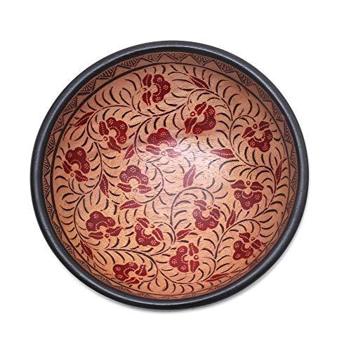 NOVICA 327758 Lok Chan Flowers Batik Wood Decorative Bowl Brown
