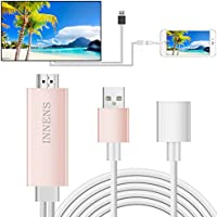 Innens Lightning to HDMI Cable Adapter, Lightning Digital AV Adapter, Plug and Play Lightning MHL to HDMI High-Speed 1080P HDTV Cable for iPhone 7 7 Plus 6s 6s Plus 6, iPad (Rose Gold)