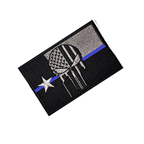 Border Patrol Gear (Texas Punisher Law Enforcement Tactical Patch w/ Velcro for service dog vests, uniforms, and operator caps (Texas Skull, Thin Blue Line, 2