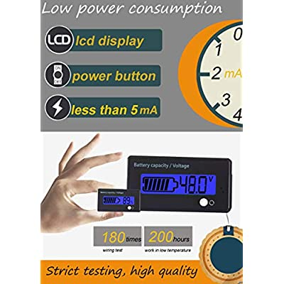 Multifunctional Battery Capacity Monitor 48V LCD Battery Fuel Gauge Indicator Meter for Lead-Acid Battery Motorcycle Golf Cart Car, Blue: Automotive