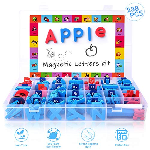 [해외]Magnetic Letters Kit Classroom Magnets 238 PcsLarge Double-Side Magnet Board and Storage Box Foam Alphabet ABC Magnets Toy Set for Preschool Kids Learning Spelling - Classroom & Home Education / Magnetic Letters Kit, Classroom Magn...