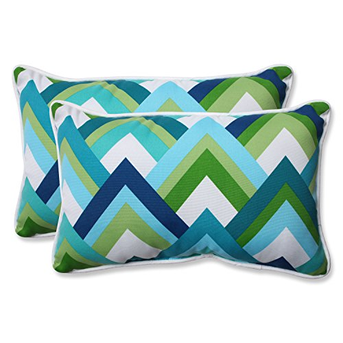Pillow Perfect Outdoor Resort Peacock Rectangular Throw Pillow, Blue, Set of 2