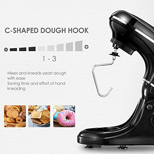 Kealive Stand Mixer, 8 Speed 700 Watt Kithchen Mixer with 5-Quart Stainless Steel Bowl, Dough Hooks, Whisk, Beater, Pouring Shield, Dough Mixer, Black by Kealive (Image #2)