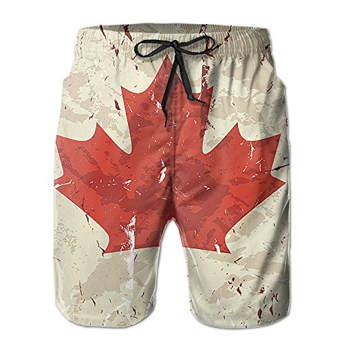Canada Flag Hand Painted Mens Quick Dry Sports Summer Printing Swimwear Beach Board Shorts Trunks Pants - Sport Canada Swimsuit