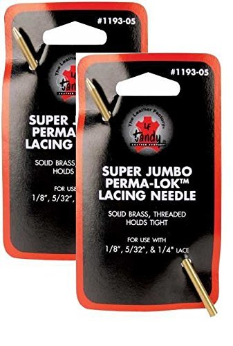 Perma Lok Super Jumbo Lacing Needle For 1/8, 5/32 Or 1/4 Lace -- TWO Pack by Tandy B00MZALI54