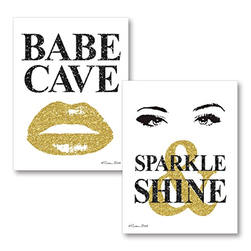 Gango Home Decor Contemporary Babe Cave & Sparkle & Shine by Susan Ball (Printed on Paper); Two 12x16in Unframed Paper Posters