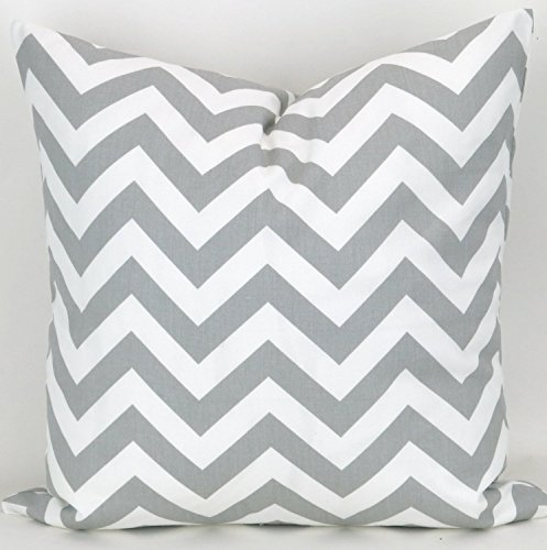 Throw Pillow Cover, Grey , Chevron Cushion, Accent Pillow, Euro Sham, Cushion Cover - 26