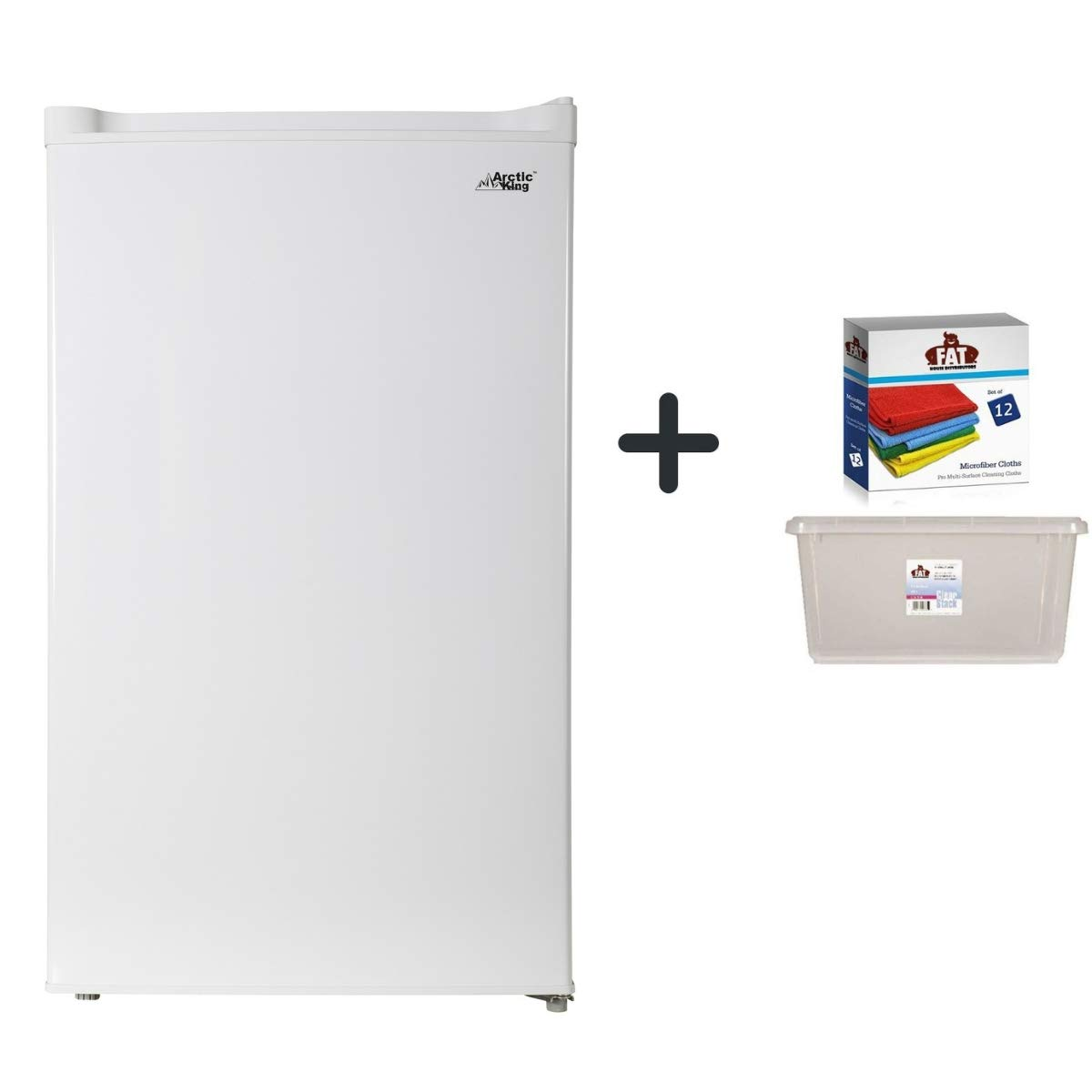 a Dozen of Cleaning Clothes with Clear Storage by Fat House Distributors Arctic King 1.1 cu ft Upright Freezer White