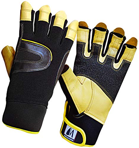 Navis Marine Sailing Gloves for Men Women Rowing Boating Fishing Kayaking All Water Sports Special Palm Perfect UV Protection Short Finger (Gold/Carbon, L)