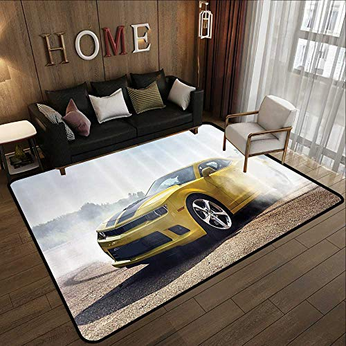 Contemporary Indoor Area Rugs,Cars Decor,Racer Sports Car in The Course of Competition Drifting with Moving Wheels on Asphalt Win Photo,Yellow 59
