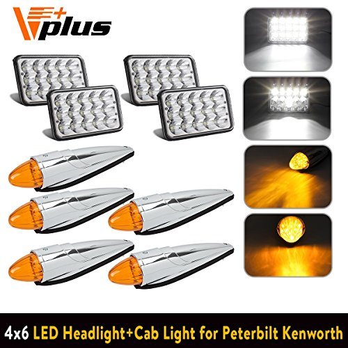 (Partsam 4pc 4x6 inch LED Headlight Sealed Dual Hi/Lo Beam Rectangular H4651 H4666 H4656 + 5pc Cab Marker Roof Light 17 LED Amber/Yellow Chrome Compatible with Peterbilt, Kenworth, Freightliner, Mack)