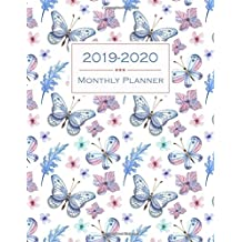 2019-2020 Monthly Planner: Flowers & Butterflies Two Year Calendar Planning Time Management Organizer Notebook