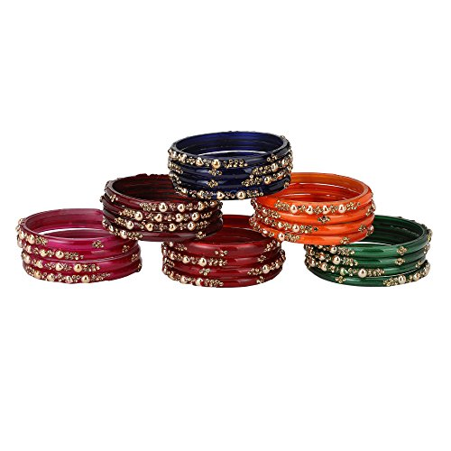 Somil Party Collection Festival Glass Kada/Bangles Set, with Box