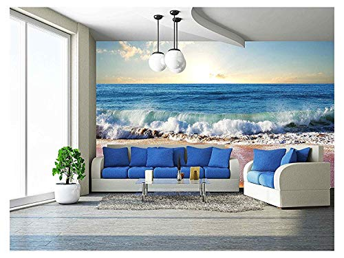 wall26 - Sea Sunset in Olympic Park Coast - Removable Wall Mural | Self-Adhesive Large Wallpaper - 100x144 inches (Mural Beach)