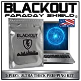 Faraday Cage EMP BLACKOUT® Bags Premium Ultra Thick 5pc Prepping Kit Laptops Tablets Smartphones Hard Drives iPhone iPad Galaxy Android LG Microsoft