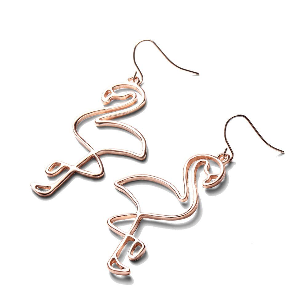 Hollow Flamingo Dangle Earrings Simple Geometric Line Flamingo Bird Drop Earrings Hook for Women Girls