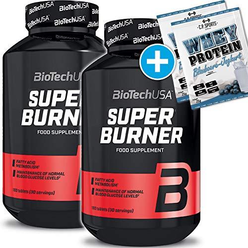 BioTech USA Super Burner 2er Pack, (2 x 120 Kapseln) + 2 x C.P. Sports 25g Whey Protein Testbeutel