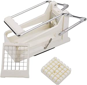 French Fry Potato Cutter with Round Bottom for Easy Slicing 2 Blades Interchangeable Cutting Blades, French Fries, Carrots, Small Potatoes, Veggie Sticks
