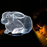 Best Creative Motion Changing Tables - 3D Lamp LED night light Animal Rabbit Decor Review
