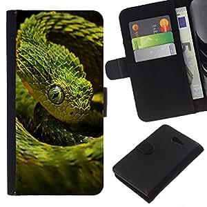 JackGot ( Verde Escala Serpiente ) Sony Xperia M2 la tarjeta de Crédito Slots PU Funda de cuero Monedero caso cubierta de piel