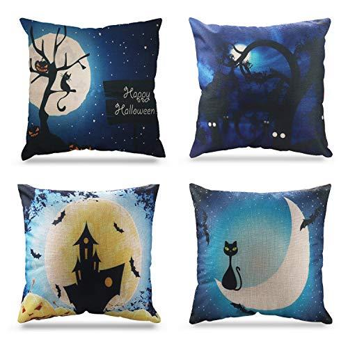 Happy Halloween Cotton Linen Pillow Covers Castle Theme Sofa Home Decor Throw Pillow Case Cushion Covers 18 x 18 Inch, 4 - Throw Decor