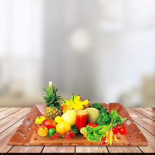 Khandekar Wooden Serving Tray with Handles - Great for Dinner Wooden Trays, Tea/Coffee Tray, bar Tray, Breakfast Tray, or Any Food Tray - Good for Parties or Bed Tray