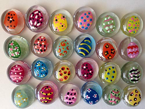 EASTER EGGS/COLORED EGGS; Set of 24 Hand Painted Glass Gems; Party Supplies, Party Favor, Decoration, Token, Memoir, etc.let your imagination run wild!