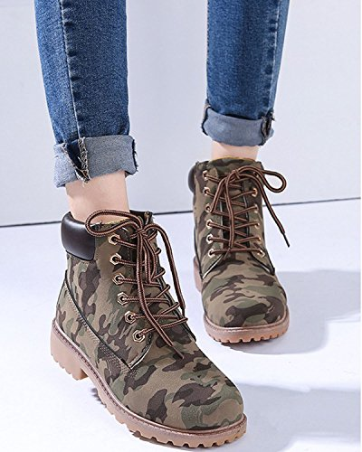 Minetom Womens Retro Winter Lace Up Boots Ladies Martin Ankle Boot Work Hiking Trail Biker Shoes camouflage nnVmSSA